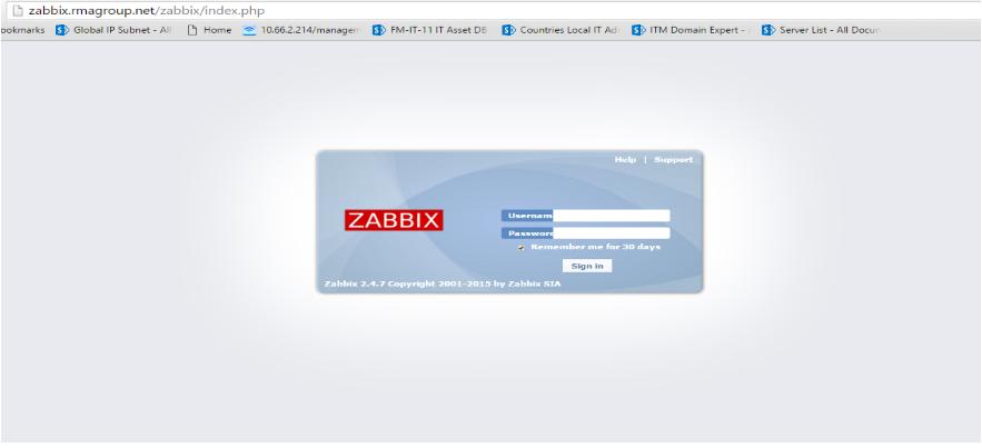 Machine generated alternative text:Cl zabbix.rmagroup.net/zabbix/index.php ookmarks Global IP Subnet ALI El Home 10.66.2.214/manage17 FM-IT-II IT Asset DB ZABBIX Countries Local IT ACL Help I 30 da ITM Domain Expert - Server List - All DocuL zabbix 2.4.7 copyright by zabbix SIA